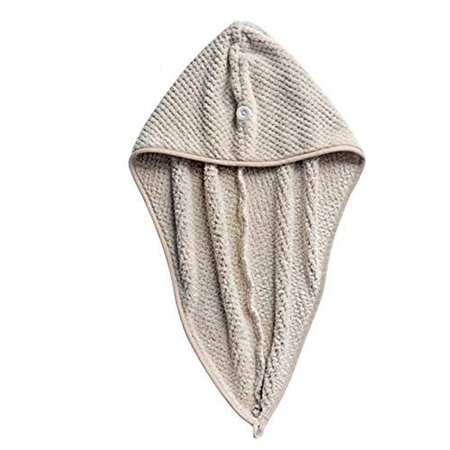 Gorro de pelo de coral de secado rápido Pelo turbante toalla baño wrap hat sombrero rápido turbante seco botón baño turbante mágico microfibra pelo secado rápido secador toalla de pelo seco sombrero S