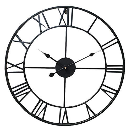 Warmiehomy 40 cm Wanduhr, große Metall-Roman-Ziffer, Skelett-Wanduhr, Vintage-Stil, geräuschlos, nicht tickend, hängende Uhr für Wohnzimmer, Café, Büro, Restaurant, Hotel, Dekoration, schwarz
