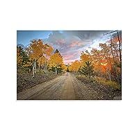 秋の森のキャンバスアートポスター装飾絵画壁アート絵プリントポスターリビングルーム壁画家の装飾絵画12×18インチ(30×45cm)