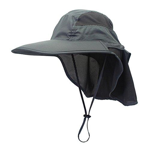 gg st Sonnenhut Herren Damen UPF 50+ Outdoor UV Summer Cap mit Nackenschutz Hiking Fischerhut Strand Faltbar Safari Buschhüte Mesh Hat, Dunkelgrau
