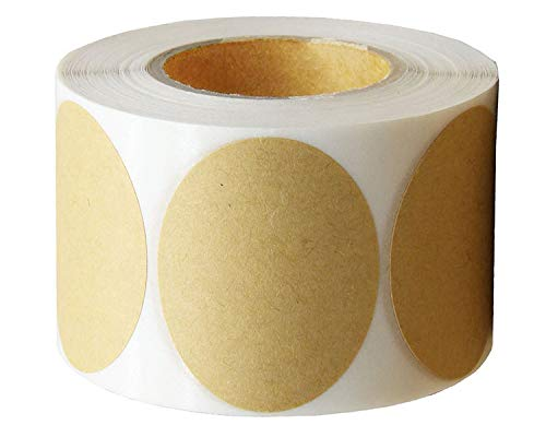 """Large Size 3"""" Natural Circle Kraft Paper Dots Labels Large Size Round Brown Adhesive Stickers-Seal Sticker-Gift Label-Adhesive Dot-300 Labels Per Roll (3 inches 1 roll)"""
