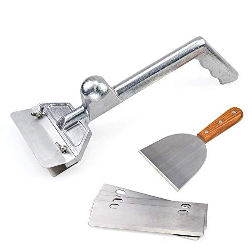 """SHANGPEIXUAN Grillschaber, strapazierfähig, Aluminiumguss, gewerbliche Grillschaber, kleiner schräger Rand 16""""x6"""" Grill Scraper silber"""