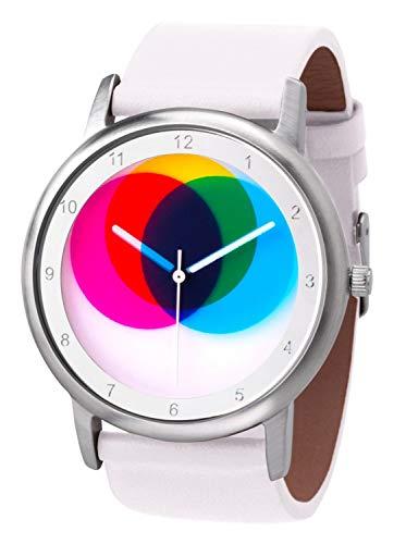 Rainbow Watch Unisex Quarzuhr Avantgardia CMYK mit weißem Echtleder Armband
