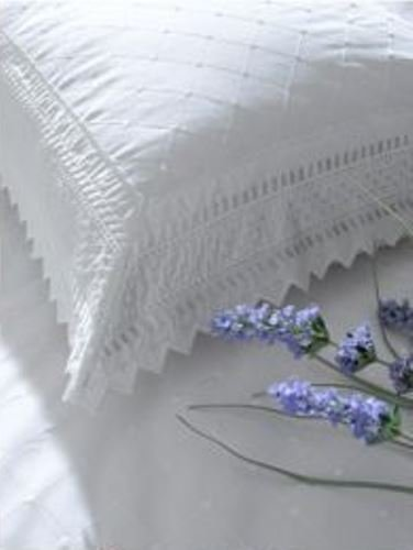 Balmoral White Embroidered Broderie Anglaise Percale Pillowcase Pair