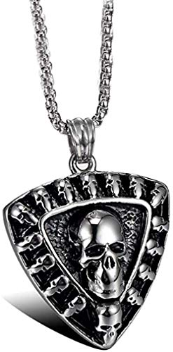 CCXXYANG Co.,ltd Necklace Stainless Steel Vintage Skull Punk Rock Guitar Pick Pendant Necklace with 60Cm Chain