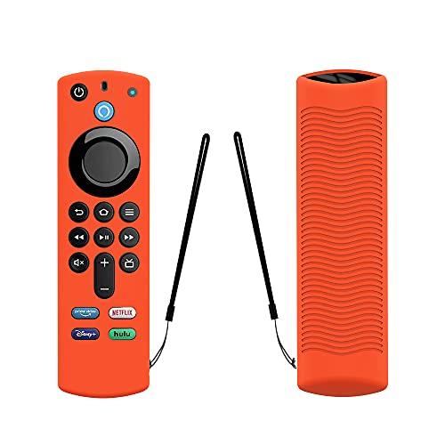 TAOCHEN Funda de Silicona para Alexa Voice Remote (3.a Generación) (Versión 2021) - Funda Luminosa de Protección Completa a Prueba de Golpes para Fire TV Stick (2021) Control Remoto (Naranja)