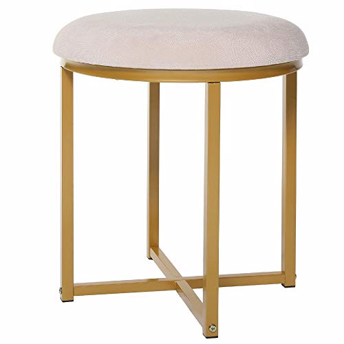 Round Vanity Stool with Gold Legs, Capacity 330lbs, Padded Vanity Chair Bench, Dressing Makeup Stool, Piano Bench, Vanity Seat for Bedroom, Living Room, Gift for Women, Girl, Mom, Mother