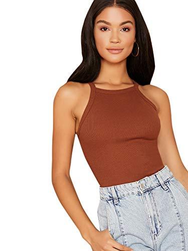 MakeMeChic Women's Solid Halter Neck Sleeveless Summer Basic Cami Top Brown M