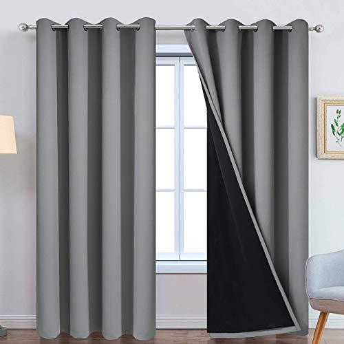 Yakamok Cortinas de 100 % oscurecimiento, paneles de cortina con aislamiento térmico e insonorizados, con bloqueo completo de luz con...
