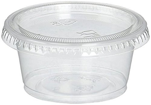 2oz Portion Cups with Lids, 250 Pack Jello Shot Cups Salsa Cup Souffle Cups Sampling Cups Slime Cups (250)