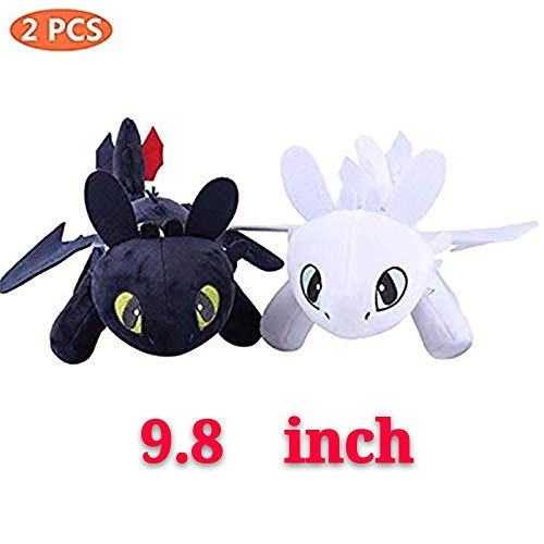 Moovi 2 PCS / Set How to Train Your Dragon 3 Toothless Light & Night Fury Soft Toy Features Plush for Children 9.8''(25cm)