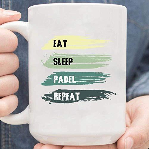Eat Sleep Padel Repeat Vintage Retro Taza De Café