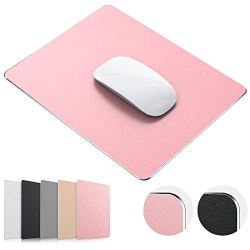 JEDIA Mouse Pad, Rose Gold Hard Metal Aluminum Mouse Pad, Premium Dual-Side Waterproof Fast and Accurate Control Mousepad for Office, Home and Gaming, Small Size, 9'×7'