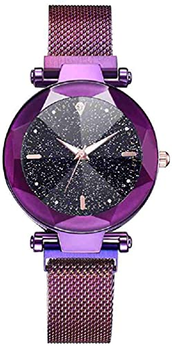 JZDH Mano Reloj Reloj de Pulsera Mujer DE LUJERA Reloj DE LUGLES Reloj DE LIBERES Starry Sky MAGNÉTICO A Prueba de Agua Reloj de Pulsera Luminosa Relojes Decorativos Casuales (Color : Morado)