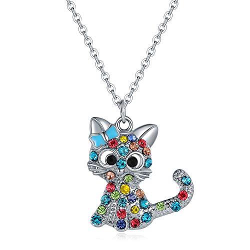 Collar de gatitos de niña de color, collar de cristal, colgante de niña de aleación de regalo de fiesta para niña, regalo de San Valentín (azul)
