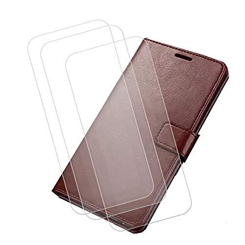 """Capa carteira para Umidigi A5 Pro (6,3"""") + [pacote com 3] película protetora de tela de vidro temperado, capa flip de couro sintético YZKJ com compartimentos para cartão de crédito e suporte protetor - marrom"""