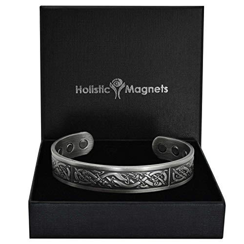 Holistic Magnets® Wikinger Kupfer Armband XL (Antik-Silber) Herren Magnet Armbänder für Arthritis Originelle Geschenke für Männer Magnetarmband +Geschenkbox-VP (XL: Handgelenk 20,5-24cm)