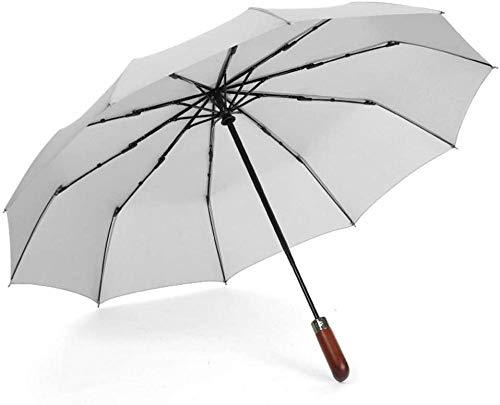 Paraguas automático plegable para hombres y mujeres, de madera maciza retro caballero paraguas (color: rojo) DSB (color: azul)