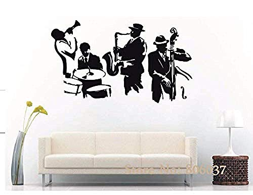 DIY Vinyl PVC Verwijderbare Muursticker Muurmuurmuurschildering Jazz Instrument Saxofoon Muzikaal Instrument Band Speler Sticker Vinyl Vinyl Bas Decoratieve Vinyl Vinyl Vinyl Mural Sticker 57 * 108cm