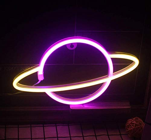 QiaoFei Led Planet Neon Light Decorative Signs Wall Decor, Battery or USB Operated Lamp Planet Neon Signs for Baby Kids Friends Birthday Gifts (pink & White)