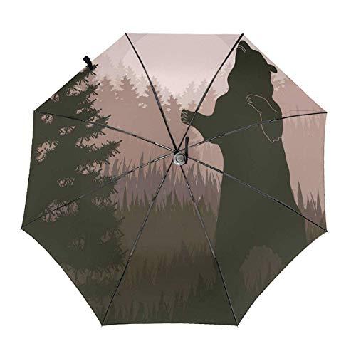 Pliegues Auto Open Close Anti-UV Umbrella Bear in Jungle Camo Camouflage Rain & Outdoor Unbreakable Travel Umbrellas
