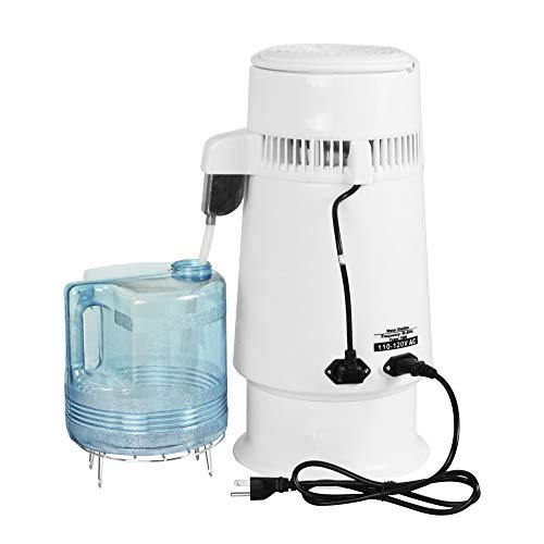 ECO LLC 4L 110V 304 Stainless Steel Water Distiller Countertop Filter Water Purifier Boiler Machine with Glass Collection Bottle for Home Use
