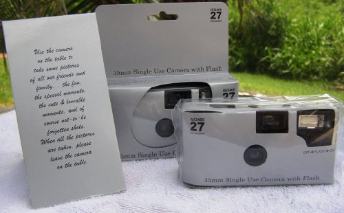 10 Pack Disposable Wedding Cameras, Plain Shiny Silver, 35mm, 27 Exp, New in Gift Boxes