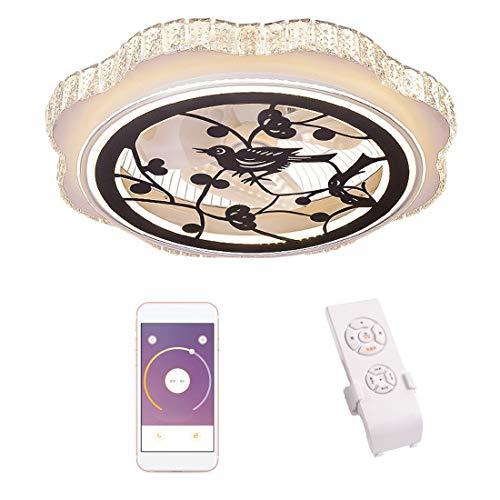 Dxyap Dxyap Ventilador de Techo con iluminación, Crystal Plafón con APP, Ventilador de techo con luz LED, Velocidad del viento Ajustable, Control Remoto Regulable, 32W Luz de Techo LED, φ60cm
