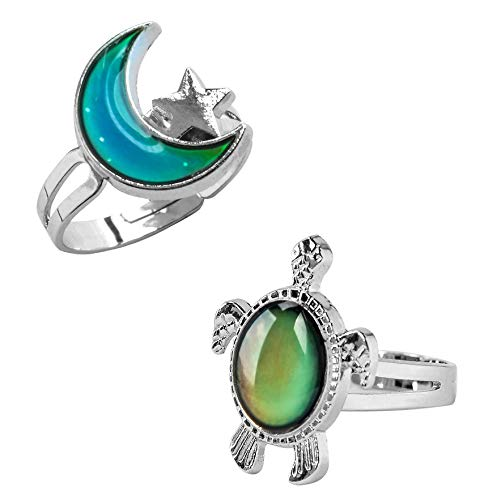 Wqaip Kerg 2 Pcs Mood Rings Turtle and Star Moon Adjusable Size Color Changing Ring for Kids Women
