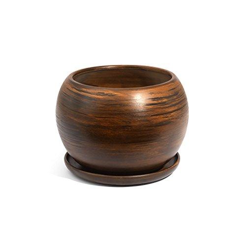Vaso SFERA in ceramica con sottovaso, diametro foro 10 cm, colore: marrone