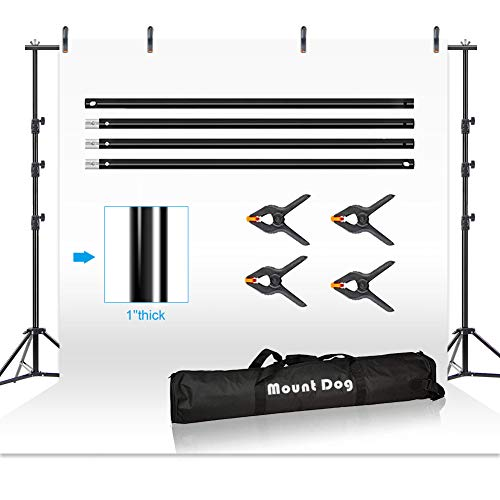 MOUNTDOG 8.5ftx10ft Background Stand Backdrop Support System Kit Photo Video Studio Adjustable Heavy Duty Background Support with Carrying Bag