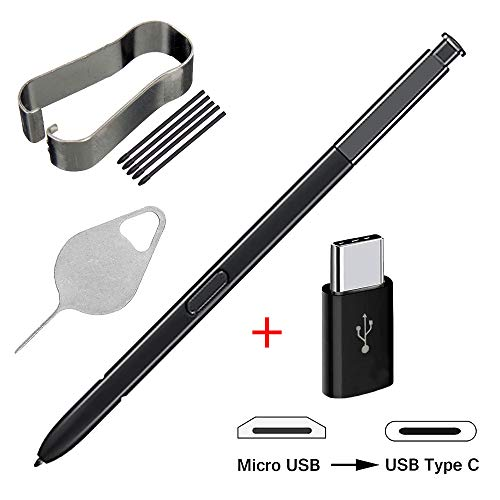 Bestdealing Stylus Touch S Pen Replacement With Tips Nibs Tweezer For Samsung Galaxy Note 8 Note8 N950 N950F N950FD N950U With Micro USB to Type C Adapter And Needle Repair Part Acessories Black