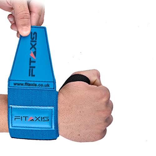 FITAXIS Power Wrist wraps med gummistängning, kraftig ny form för gym, kroppsbyggnad, crossfit, lyft, push up, yoga. Säljs i par – herr & dam 24 tum BLÅ 24