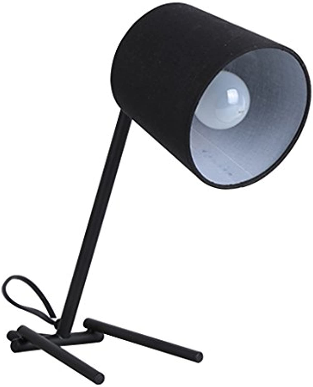 Augenschutz Schreibtischlampe Nordischen Stil Tischlampe Schlafzimmer Studie Nachtlicht 2 farben optional (E27 - Keine Glühbirne Druckschalter) (Farbe   schwarz)