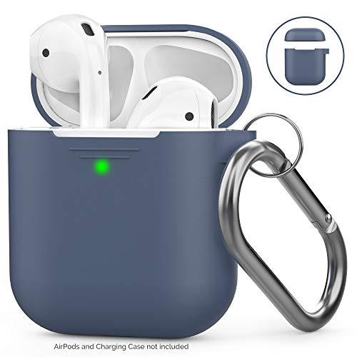 Ahastyle AirPods Hülle Silikon - Voller Schutz mit Karabiner Kompatibel mit Apple Airpods 2 & 1  Front-LED Sichtbar & Unterstützt Drahtloses Laden] (Mit Karabiner, Navy Blau)