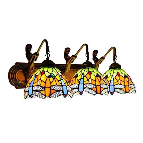 Lámpara De Pared Estilo Tiffany, Lámpara De Pared con Base De Lámpara De Sirena De 3 Cabezas con Vitrales De Libélula, Lámpara De Pared De 25,5 Pulgadas De Ancho para Dormitorio, Hotel, Restaurante