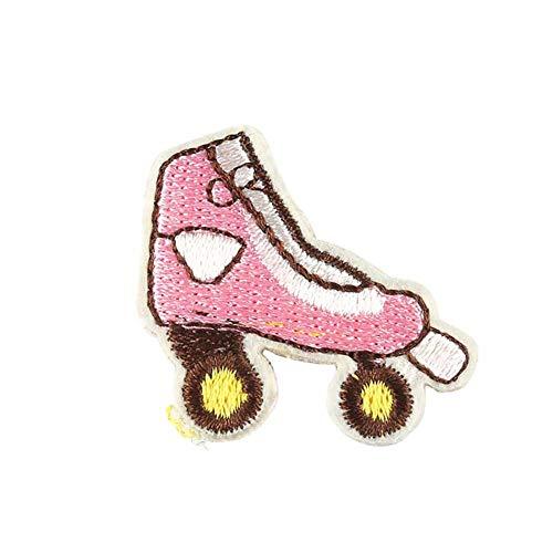 CAOLATOR Aufnäher Applikation Patches für Kleidung Karikatur 10 Stück Rosa Rollschuhe Flicken Nähen Patches Aufbügelflicken Applikation DIY Kleidung Patches für T-Shirt Jeans Taschen Schuhe Hüte