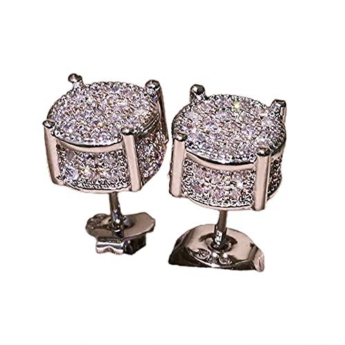 Topsjleu - Pendientes de tuerca para mujer, brillantes y llamativos, cuatro garras para uso diario, color dorado, Cobre, diamantes de imitación,
