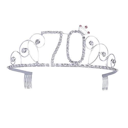 Ouinne Diadème Anniversaire Couronne Joyeux anniversaire 70 ans Strass Cristal Argent