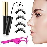 Magnetic Eyeliner Eyelash Kit -No Glue Reusable Silk False Lashes Dual Magnets Silk Eyelash Extensions
