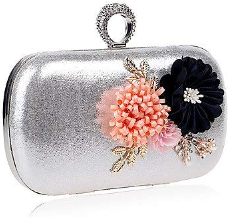 Wetietir Clutch Bag Woman Fashion Flowers Dinner Evening Bag Dinner Purse (color   Silver)