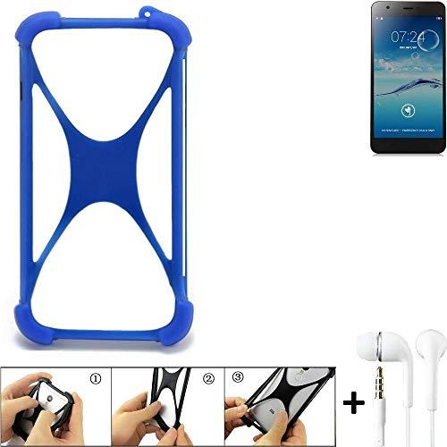 K-S-Trade® Handyhülle Für Jiayu S3+ Bumper Schutzhülle Silikon Schutz Hülle Cover Case Silikoncase Silikonbumper TPU Softcase Smartphone, Blau (1x), Headphones