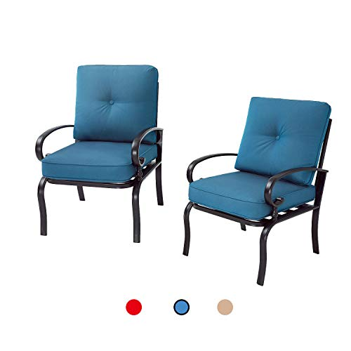 Oakmont 2 Piece Outdoor Furniture Patio Bistro Chairs Metal Dining Furniture Set, All-Weather Garden Seating Chair (Peacock Blue)