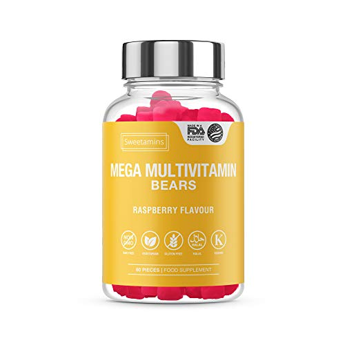 Sweetamins 60 Pieces Mega Multivitamin Gummy Bears, Chewable Multivitamins Gummies - High Strength Raspberry Flavoured Edible Vitamins |Food Supplement |USA Import|