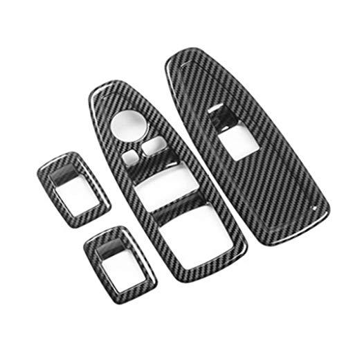 LICHONGUI Decoración del botón del Levantamiento de Vidrio de la Ventana del Coche Decoración del Panel de Fibra de Carbono ABS para 1/3/4 Serie 3GT F20 F34 F31 F32 F34 F36