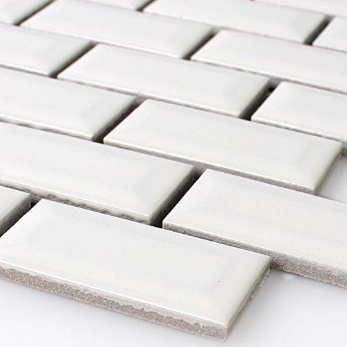 Keramik Metro Mosaik Fliesen mit Facette Weiss Glänzend