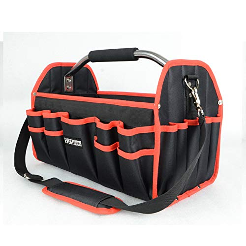 19quot Electrician Open Top Tool Tote Bag 600D Reinforced Material Tool Carrier with 16 External Pockets Steel Handle and Shoulder Strap