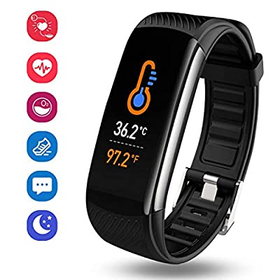 OUTAD Fitness Activity Tracker Waterproof Watch with Temperature Heart Rate Blood Pressure Oxygen Sleep Monitor, Step Calorie Counter Pedometer, Smart Bracelet Wristband for Women Men Kids-Black