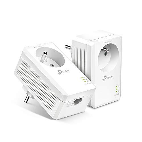 TP-Link CPL 1000Mbps, Prise CPL Fibre avec 1 Port Gigabit et Prise Intégrée, Boitier CPL Kit de 2 - idéale pour Profiter du Service Multi-TV à la Maison TL-PA7017P KIT(FR)