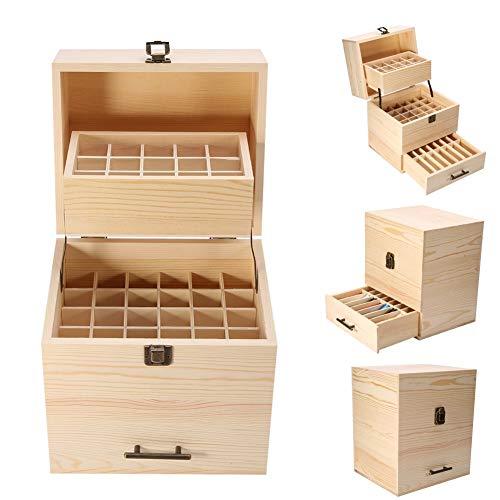 59 Slots Aceite esencial Caja de almacenamiento de madera Caja de aceite Organizador Contenedor Aromaterapia para llevar y almacenamiento en el hogar Pantalla